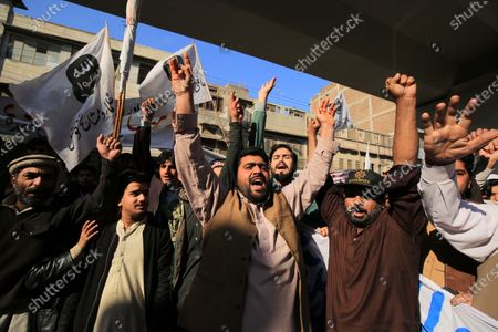 People shout slogans during a protest against the USA, in Peshawar, Pakistan, 10 January 2020. General Qasem Soleimani, was killed in an airstrike on 03 January, in Baghdad ordered by the United States president, the Pentagon said. General Soleimani was in charge of Iran's foreign policy strategy as the head of the Quds Force, an elite wing of the Islamic Revolutionary Guard Corps, which the US designated as a terror organization. The Quds Force holds sway over a raft of Shia militias across the region, from Lebanon to Syria and Iraq.