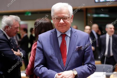 Stock Photo of Polish Foreign Minister Jacek Czaputowicz during an extraordinary EU Foreign Ministers Council meeting in Brussels, Belgium, 10 January 2020. The Council is holding emergency talks on Iran.