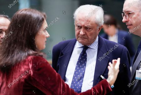 Swedish Foreign Minister Ann Linde (L) and Fernando Valenzuela Marzo (R) the Spanish State Secretary for Foreign Affairs during an extraordinary EU Foreign Ministers Council meeting in Brussels, Belgium, 10 January 2020. The Council is holding emergency talks on Iran.