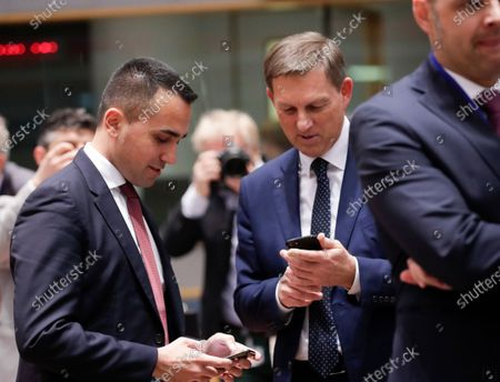 Italian Foreign Minister Luigi Di Maio (L) and Slovenia Foreign Minister Miro Cerar (R) during an extraordinary EU Foreign Ministers Council meeting in Brussels, Belgium, 10 January 2020. The Council is holding emergency talks on Iran.