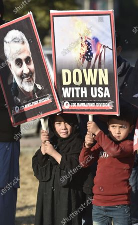 Pakistani Shi'ite Muslims hold pictures of General Qasem Soleimani, the head of Iran's Islamic Revolutionary Guard Corps' elite Quds Force, during a protest against the USA, in Islambad, Pakistan, 10 January 2020. General Qasem Soleimani, was killed in an airstrike on 03 January, in Baghdad ordered by the United States president, the Pentagon said. General Soleimani was in charge of Iran's foreign policy strategy as the head of the Quds Force, an elite wing of the Islamic Revolutionary Guard Corps, which the US designated as a terror organization. The Quds Force holds sway over a raft of Shia militias across the region, from Lebanon to Syria and Iraq.