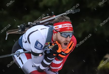 Simon Eder of Austria in action during the Men's 10 km Sprint race at the IBU Biathlon World Cup in Oberhof, Germany, 10 January 2020.