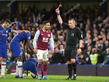 Aaron Lennon of Burnley receiving a yellow card