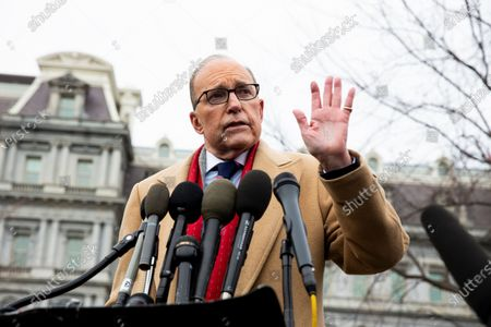 Director of the National Economic Council Larry Kudlow responds to questions from members of the news media regarding China and the economy, outside the West Wing of the White House in Washington, DC, 10 January 2020. Vice Premier of China Liu He is expected to travel to Washington to sign a phase-one trade deal between China and the US, which is scheduled for 15 January.