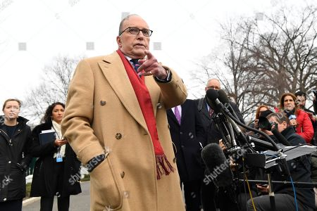 Stock Picture of White House economic adviser Larry Kudlow speaks with reporters outside the West Wing of the White House in Washington