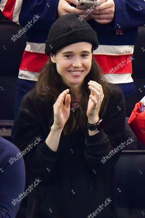 Stock Image of Elliot Page attends New Jersey Devils vs New York Rangers game at Madison Square Garden