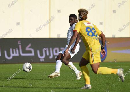 AL- Hazm's Luiz Muralha (R) in action against Al-Shabab's Alfred N'Diaye (L) during the Saudi Professional League soccer match between AL- Hazm and Al-Shabab at Al Hazm Club Stadium, Ar Rass, Saudi Arabia, 10 January 2020.