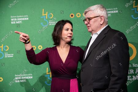 Former German Foreign Minister and Vice Chancellor and current member of the Alliance90/The Greens party (Buendnis90/Die Gruenen) Joschka Fischer (R) and Federal co-chairwoman of Alliance90/The Greens party (Buendnis90/Die Gruenen) Annalena Baerbock (L) attend the anniversary celebrations marking 30 and 40 years to the ALLIANCE 90/THE GREENS political parties, in Berlin, Germany, 10 January, 2020. The event celebrates 40 years to the German Green party (DIE GRUENEN) and 30 years to its former east German (GDR) sister party ALLIANCE 90 (BUENDIS 90).