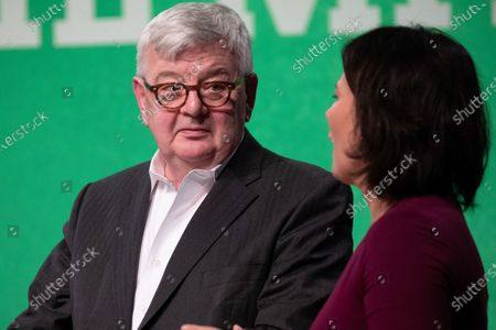 Former German Foreign Minister and Vice Chancellor and current member of the Alliance90/The Greens party (Buendnis90/Die Gruenen) Joschka Fischer (L) and Federal co-chairwoman of Alliance90/The Greens party (Buendnis90/Die Gruenen) Annalena Baerbock (R) attend the anniversary celebrations marking 30 and 40 years to the ALLIANCE 90/THE GREENS political parties, in Berlin, Germany, 10 January, 2020. The event celebrates 40 years to the German Green party (DIE GRUENEN) and 30 years to its former east German (GDR) sister party ALLIANCE 90 (BUENDIS 90).