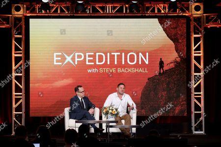 "Bill Margol, Steve Backshall. Bill Margol, left, and Steve Backshall speak at the ""Expedition with Steve Backshall"" panel during the PBS Winter 2020 TCA Press Tour at The Langham Huntington, Pasadena, in Pasadena, Calif"