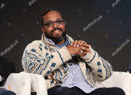 """Erin Davis speaks at the American Masters """"Miles Davis: Birth of the Cool"""" panel during the PBS Winter 2020 TCA Press Tour at The Langham Huntington, Pasadena, in Pasadena, Calif"""