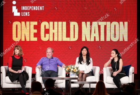 """Stock Image of Lois Vossen, Brian Stuy, Longlan Stuy, Nanfu Wang. Lois Vossen, from left, Brian Stuy, Longlan Stuy and Nanfu Wang participate in the Independent Lens's """"One Child Nation"""" panel during the PBS Winter 2020 TCA Press Tour at The Langham Huntington, Pasadena, in Pasadena, Calif"""
