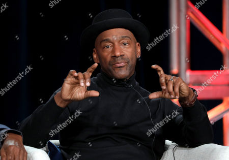 """Stock Picture of Marcus Miller speaks at the American Masters """"Miles Davis: Birth of the Cool"""" panel during the PBS Winter 2020 TCA Press Tour at The Langham Huntington, Pasadena, in Pasadena, Calif"""