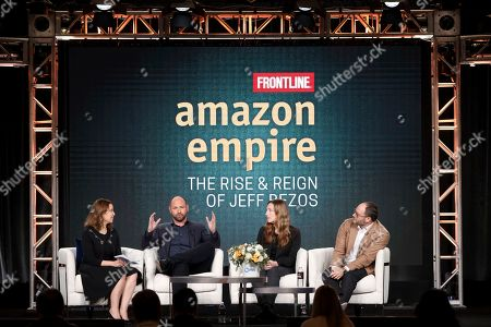 "Stock Picture of Raney Aronson-Rath, James Jacoby, Stacy Mitchell, Franklin Foer. Raney Aronson-Rath, from left, James Jacoby, Stacy Mitchell and Franklin Foer participate in the Frontline's ""Amazon Empire: The Rise and Reign of Jeff Bezos"" panel during the PBS Winter 2020 TCA Press Tour at The Langham Huntington, Pasadena, in Pasadena, Calif"