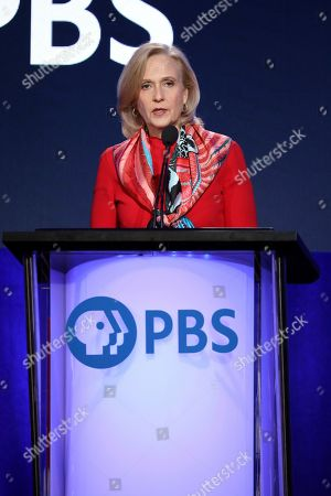 Paula Kerger, President and CEO at PBS speaks at the executive session during the PBS Winter 2020 TCA Press Tour at The Langham Huntington, Pasadena, in Pasadena, Calif