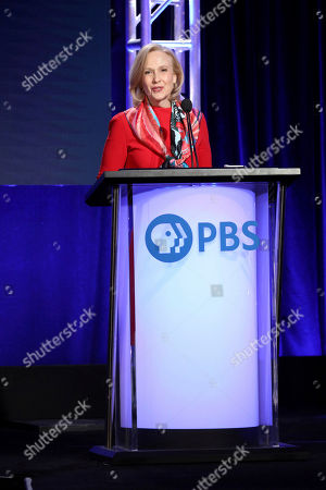 Stock Photo of Paula Kerger, President and CEO at PBS speaks at the executive session during the PBS Winter 2020 TCA Press Tour at The Langham Huntington, Pasadena, in Pasadena, Calif