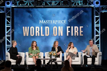 """Susanne Simpson, Julia Brown, Helen Hunt, Zofia Wichlacz, Peter Bowker. Susanne Simpson, from left, Julia Brown, Helen Hunt, Zofia Wichlacz and Peter Bowker participate in the Masterpiece """"World on Fire"""" panel during the PBS Winter 2020 TCA Press Tour at The Langham Huntington, Pasadena, in Pasadena, Calif"""