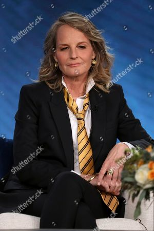 """Helen Hunt participates in the Masterpiece """"World on Fire"""" panel during the PBS Winter 2020 TCA Press Tour at The Langham Huntington, Pasadena, in Pasadena, Calif"""