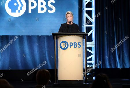 """Susanne Simpson, series executive producer speaks at the Masterpiece """"World on Fire"""" panel during the PBS Winter 2020 TCA Press Tour at The Langham Huntington, Pasadena, in Pasadena, Calif"""