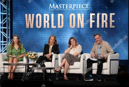 """Julia Brown, Helen Hunt, Zofia Wichlacz, Peter Bowker. Julia Brown, from left, Helen Hunt, Zofia Wichlacz and Peter Bowker participate in the Masterpiece """"World on Fire"""" panel during the PBS Winter 2020 TCA Press Tour at The Langham Huntington, Pasadena, in Pasadena, Calif"""