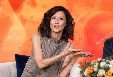 Tamlyn Tomita speaks at the Asian Americans panel during the PBS Winter 2020 TCA Press Tour at The Langham Huntington, Pasadena, in Pasadena, Calif