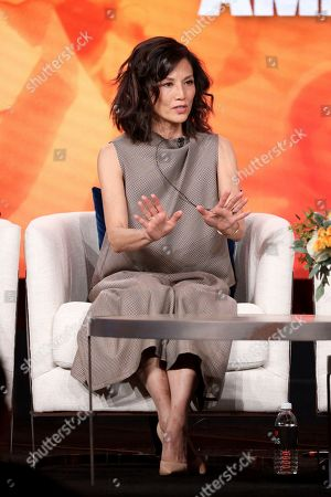 Stock Picture of Tamlyn Tomita speaks at the Asian Americans panel during the PBS Winter 2020 TCA Press Tour at The Langham Huntington, Pasadena, in Pasadena, Calif