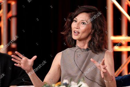 Stock Image of Tamlyn Tomita speaks at the Asian Americans panel during the PBS Winter 2020 TCA Press Tour at The Langham Huntington, Pasadena, in Pasadena, Calif