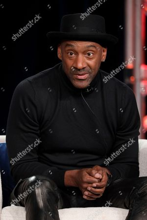 """Stock Image of Marcus Miller speaks at the American Masters """"Miles Davis: Birth of the Cool"""" panel during the PBS Winter 2020 TCA Press Tour at The Langham Huntington, Pasadena, in Pasadena, Calif"""