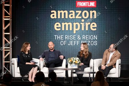 "Raney Aronson-Rath, James Jacoby, Stacy Mitchell, Franklin Foer. Raney Aronson-Rath, from left, James Jacoby, Stacy Mitchell and Franklin Foer participate in the Frontline's ""Amazon Empire: The Rise and Reign of Jeff Bezos"" panel during the PBS Winter 2020 TCA Press Tour at The Langham Huntington, Pasadena, in Pasadena, Calif"