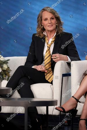 """Helen Hunt speaks at the Masterpiece """"World on Fire"""" panel during the PBS Winter 2020 TCA Press Tour at The Langham Huntington, Pasadena, in Pasadena, Calif"""