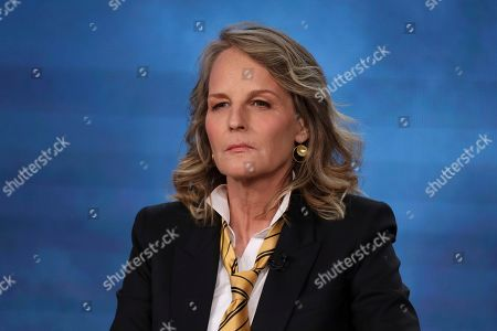 """Stock Photo of Helen Hunt speaks at the Masterpiece """"World on Fire"""" panel during the PBS Winter 2020 TCA Press Tour at The Langham Huntington, Pasadena, in Pasadena, Calif"""