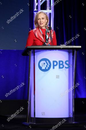 Stock Picture of Paula Kerger, President and CEO at PBS speaks at the executive session during the PBS Winter 2020 TCA Press Tour at The Langham Huntington, Pasadena, in Pasadena, Calif