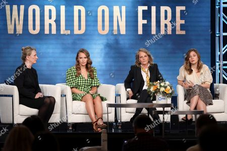 "Julia Brown, Helen Hunt, Zofia Wichlacz. Julia Brown, from left, Helen Hunt and Zofia Wichlacz participate in the Masterpiece ""World on Fire"" panel during the PBS Winter 2020 TCA Press Tour at The Langham Huntington, Pasadena, in Pasadena, Calif"