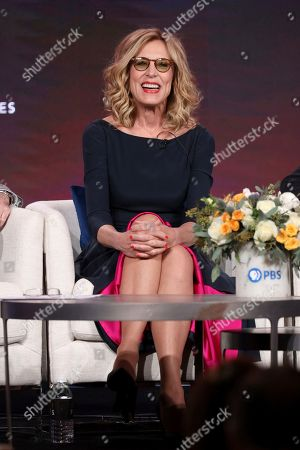 """Christine Lahti speaks at the Great Performances """"Ann"""" and """"Gloria: A Life"""" panel during the PBS Winter 2020 TCA Press Tour at The Langham Huntington, Pasadena, in Pasadena, Calif"""