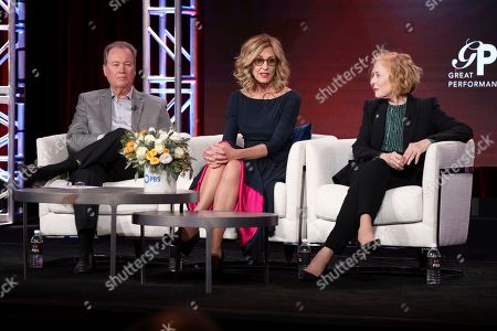 """Stock Picture of David Horn, Christine Lahti, Holland Taylor. David Horn, from left, Christine Lahti and Holland Taylor speak at the Great Performances """"Ann"""" and """"Gloria: A Life"""" panel during the PBS Winter 2020 TCA Press Tour at The Langham Huntington, Pasadena, in Pasadena, Calif"""