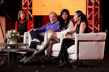 """Stock Picture of Lois Vossen, Brian Stuy, Longlan Stuy, Nanfu Wang. Lois Vossen, from left, Brian Stuy, Longlan Stuy and Nanfu Wang participate in the Independent Lens's """"One Child Nation"""" panel during the PBS Winter 2020 TCA Press Tour at The Langham Huntington, Pasadena, in Pasadena, Calif"""