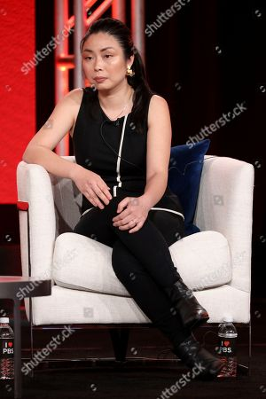 """Nanfu Wang speaks at the Independent Lens's """"One Child Nation"""" panel during the PBS Winter 2020 TCA Press Tour at The Langham Huntington, Pasadena, in Pasadena, Calif"""