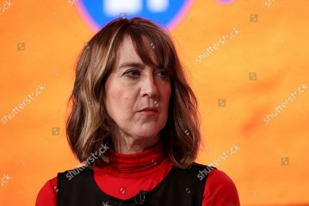 """Lois Vossen speaks at the Independent Lens's """"One Child Nation"""" panel during the PBS Winter 2020 TCA Press Tour at The Langham Huntington, Pasadena, in Pasadena, Calif"""