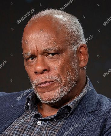 """Stock Photo of Stanley Nelson speaks at the American Masters """"Miles Davis: Birth of the Cool"""" panel during the PBS Winter 2020 TCA Press Tour at The Langham Huntington, Pasadena, in Pasadena, Calif"""
