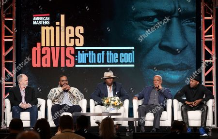 "Michael Kantor, Erin Davis, Vince Wilburn, Stanley Nelson, Marcus Miller. Michael Kantor, from left, Erin Davis, Vince Wilburn, Stanley Nelson and Marcus Miller participate in the American Masters ""Miles Davis: Birth of the Cool"" panel during the PBS Winter 2020 TCA Press Tour at The Langham Huntington, Pasadena, in Pasadena, Calif"