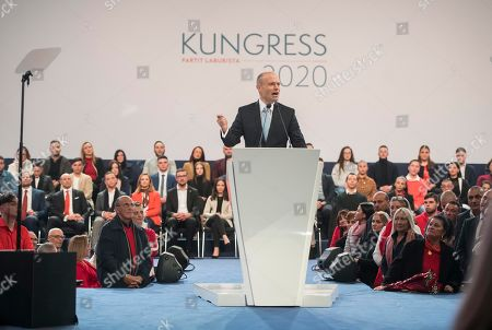 Malta's Prime Minister Joseph Muscat delivers his farewell speech as Labour Party leader in Kordin, near Valletta, . A new leader will be elected during the weekend