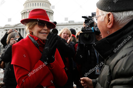 Donald Trump. Actress and activist Jane Fonda talks with actor Martin Sheen outside the U.S. Capitol during a protest on climate change, on Capitol Hill in Washington