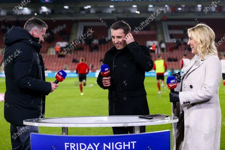 Former Liverpool player and Sky Sports pundit Jamie Carragher, Former Manchester United player and Sky Sports pundit Gary Neville and Sky Sports presenter Kelly Cates