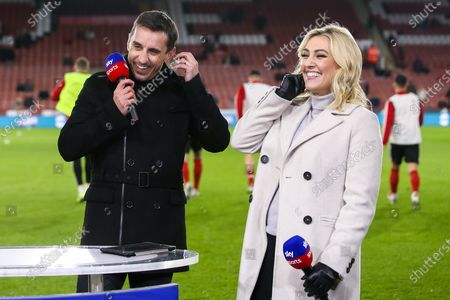 Sky Sports presenter Kelly Cates and Former Manchester United player turned pundit Gary Neville