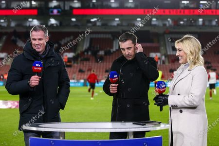 Sky Sports presenter Kelly Cates, former Liverpool player turned pundit Jamie Carragher and former Manchester United player turned pundit Gary Neville