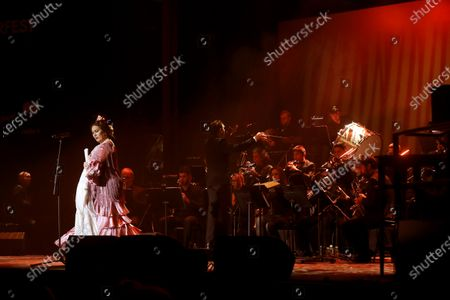 Stock Image of Spanish flamenco singer Estrella Morente performs on stage during her concert on occasion of the Inverfest music festival in Madrid, Spain, 10 January 2020, an event running from 09 January until 14 February.