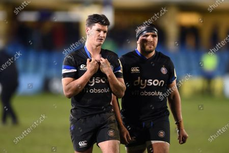 Freddie Burns and Lucas Noguera of Bath Rugby after the match