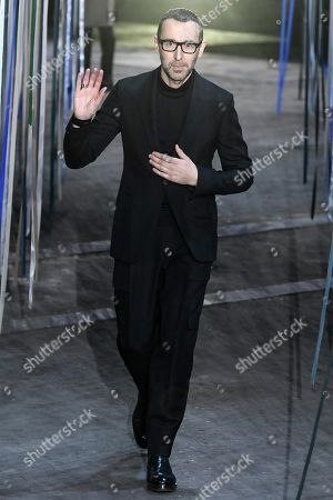 Designer Alessandro Sartori on the catwalk