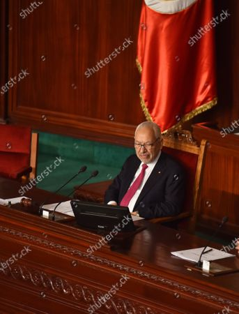 Stock Photo of Tunisia's Parliament Speaker, Rached Ghannouchi during a parliament plenary session for a confidence vote on a proposed cabinet line-up.