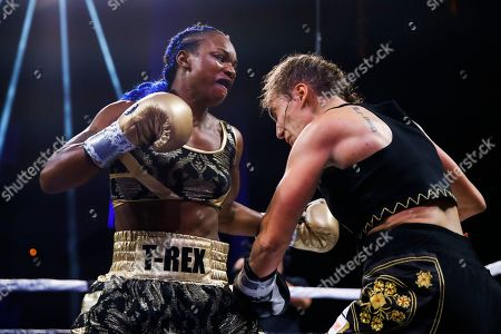 Claressa Shields, Ivana Habazin. Claressa Shields, left, fights with Ivana Habazin during the third round of a women's 154-pound title boxing bout in Atlantic City, N.J